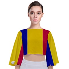 Civil Flag Of Andorra Tie Back Butterfly Sleeve Chiffon Top
