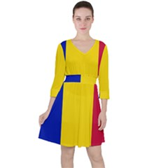 Civil Flag Of Andorra Ruffle Dress
