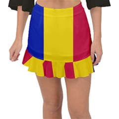 Civil Flag Of Andorra Fishtail Mini Chiffon Skirt