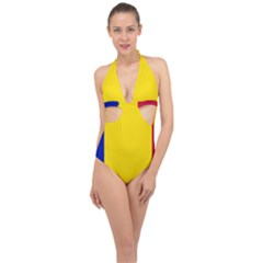 Civil Flag Of Andorra Halter Front Plunge Swimsuit