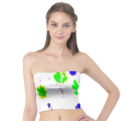 Green Flowers Pattern Tube Top