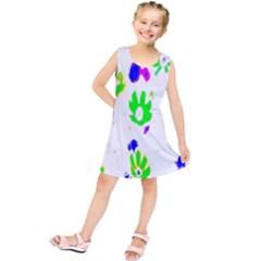 Green Flowes Pattern Kids  Tunic Dress