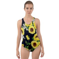 Sunflower Print Cut Out Back One Piece Swimsuit by CasaDiModa