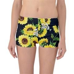 Sunflower Print Reversible Boyleg Bikini Bottoms