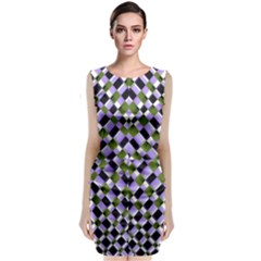 Hypnotic Geometric Pattern Sleeveless Velvet Midi Dress