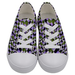 Hypnotic Geometric Pattern Kids  Low Top Canvas Sneakers