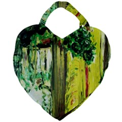 Old Tree And House With An Arch 8 Giant Heart Shaped Tote by bestdesignintheworld