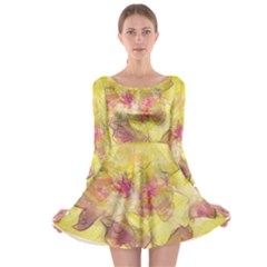 Yellow Rose Long Sleeve Skater Dress