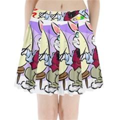 Bunny Easter Artist Spring Cartoon Pleated Mini Skirt