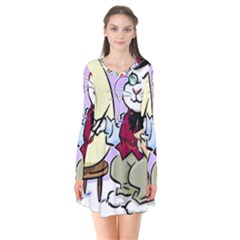 Bunny Easter Artist Spring Cartoon Flare Dress
