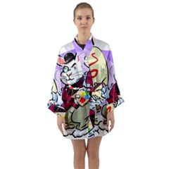 Bunny Easter Artist Spring Cartoon Long Sleeve Kimono Robe