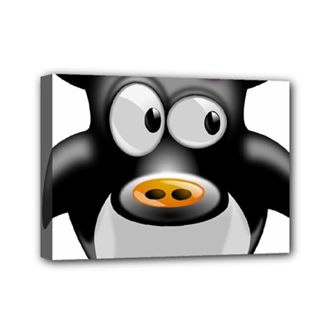 Cow Animal Mammal Cute Tux Mini Canvas 7  X 5