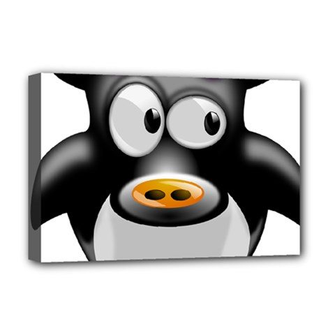 Cow Animal Mammal Cute Tux Deluxe Canvas 18  X 12