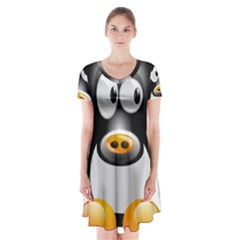 Cow Animal Mammal Cute Tux Short Sleeve V Neck Flare Dress