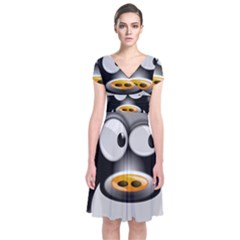 Cow Animal Mammal Cute Tux Short Sleeve Front Wrap Dress