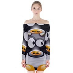 Cow Animal Mammal Cute Tux Long Sleeve Off Shoulder Dress