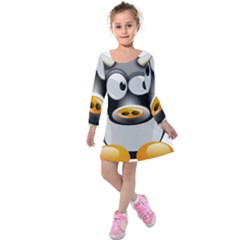 Cow Animal Mammal Cute Tux Kids  Long Sleeve Velvet Dress