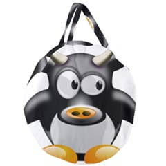 Cow Animal Mammal Cute Tux Giant Round Zipper Tote