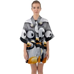 Cow Animal Mammal Cute Tux Quarter Sleeve Kimono Robe