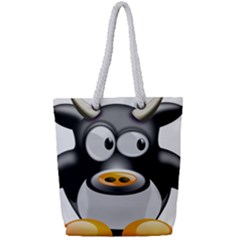 Cow Animal Mammal Cute Tux Full Print Rope Handle Tote (small)