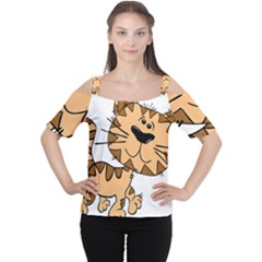 Cats Kittens Animal Cartoon Moving Cutout Shoulder Tee