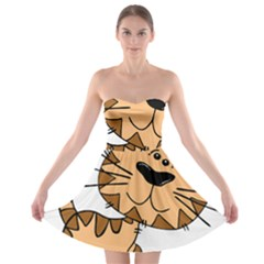 Cats Kittens Animal Cartoon Moving Strapless Bra Top Dress