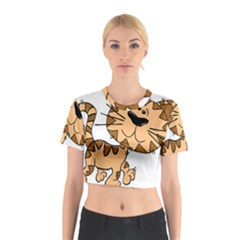 Cats Kittens Animal Cartoon Moving Cotton Crop Top