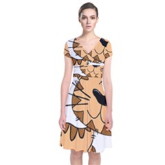 Cats Kittens Animal Cartoon Moving Short Sleeve Front Wrap Dress