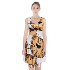 Cats Kittens Animal Cartoon Moving Racerback Midi Dress