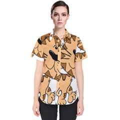 Cats Kittens Animal Cartoon Moving Women s Short Sleeve Shirt