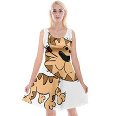 Cats Kittens Animal Cartoon Moving Reversible Velvet Sleeveless Dress