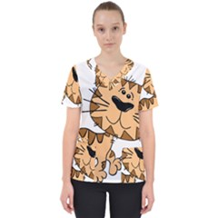 Cats Kittens Animal Cartoon Moving Scrub Top