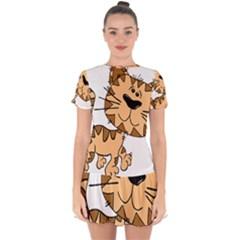 Cats Kittens Animal Cartoon Moving Drop Hem Mini Chiffon Dress