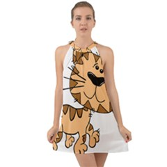 Cats Kittens Animal Cartoon Moving Halter Tie Back Chiffon Dress