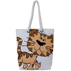 Cats Kittens Animal Cartoon Moving Full Print Rope Handle Tote (small)