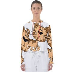 Cats Kittens Animal Cartoon Moving Women s Slouchy Sweat