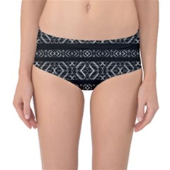 Futuristic Geometric Stripes Pattern Mid Waist Bikini Bottoms
