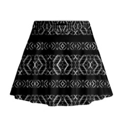Futuristic Geometric Stripes Pattern Mini Flare Skirt