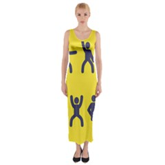 Gymnast Stick Man Man Stick Fitted Maxi Dress