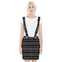 Futuristic Geometric Stripes Pattern Braces Suspender Skirt