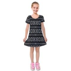 Futuristic Geometric Stripes Pattern Kids  Short Sleeve Velvet Dress