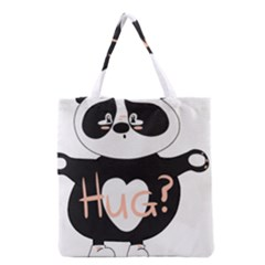 Panda Hug Sorry Cute Cute Bear Grocery Tote Bag by Simbadda