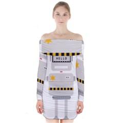 Robot Technology Robotic Animation Long Sleeve Off Shoulder Dress