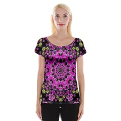 Namaste Decorative Flower Pattern Of Floral Cap Sleeve Tops
