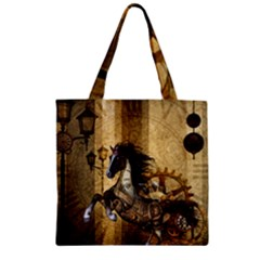 Awesome Steampunk Horse, Clocks And Gears In Golden Colors Zipper Grocery Tote Bag by FantasyWorld7