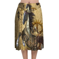 Awesome Steampunk Horse, Clocks And Gears In Golden Colors Velvet Flared Midi Skirt