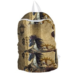 Awesome Steampunk Horse, Clocks And Gears In Golden Colors Foldable Lightweight Backpack by FantasyWorld7