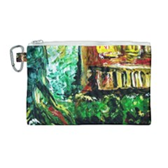 Old Tree And House With An Arch 5 Canvas Cosmetic Bag (large) by bestdesignintheworld