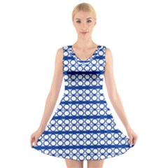 Circles Lines Blue White Pattern  V Neck Sleeveless Dress
