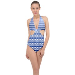 Circles Lines Blue White Pattern  Halter Front Plunge Swimsuit